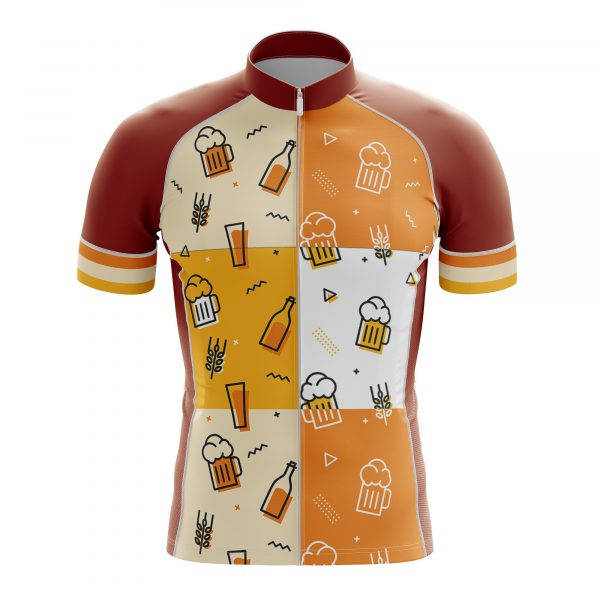beer pattern cycling jersey