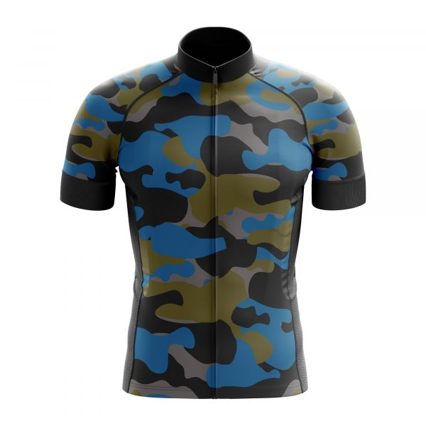 blue camouflage cycling jersey