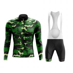 green long sleeve camouflage cycling army kit