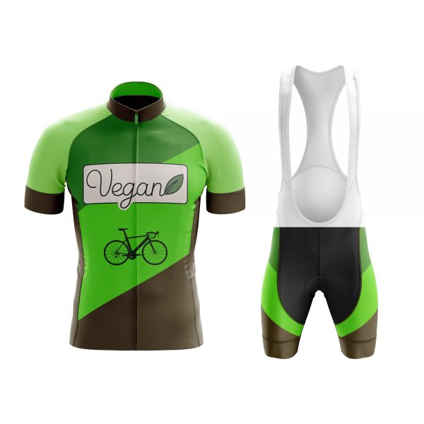 vegan green cycling kit with leaf bicycle