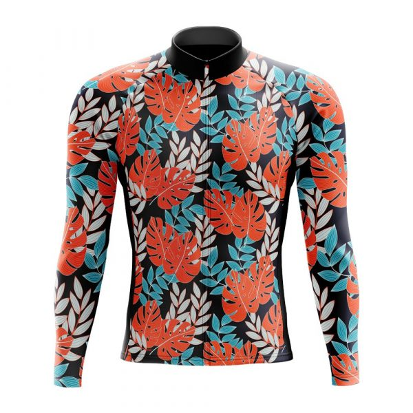tropical flower long sleeve cycling jersey